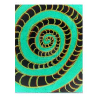 Espiral invertido verde lima postal