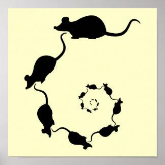 Espiral lindo del ratón. Ratones negros en la crem Posters