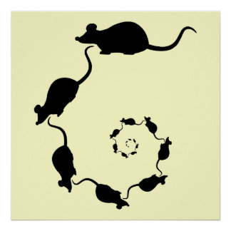 Espiral lindo del ratón. Ratones negros en la crem Poster