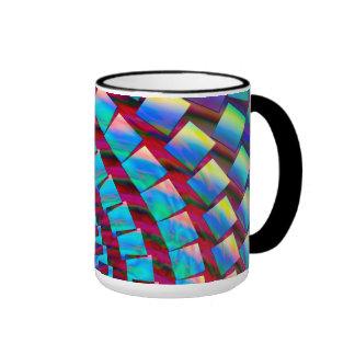 Espiral loco del arco iris taza de dos colores