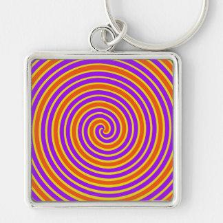 Espiral mareado amarillo púrpura anaranjado llavero personalizado
