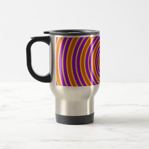 Espiral mareado amarillo púrpura anaranjado taza