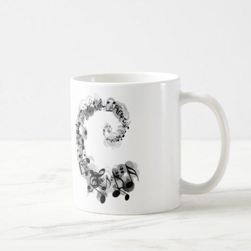 Espiral musical taza básica blanca