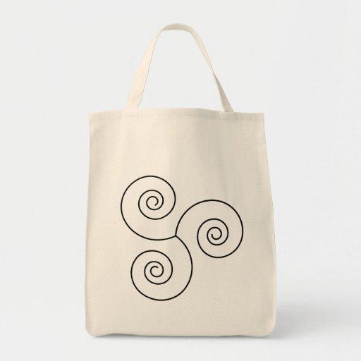 Espiral negro/blanco de la vida bolsas de mano