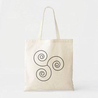 Espiral negro/blanco de la vida bolsas lienzo