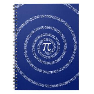 Espiral para el pi en azules marinos libretas