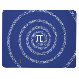 Espiral para el pi en azules marinos cuaderno grapado