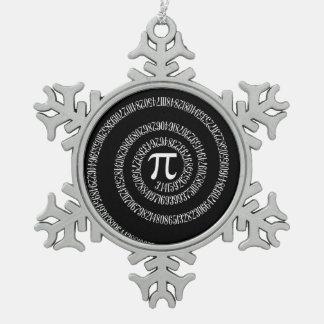 Espiral para el pi en estilo negro adorno de peltre en forma de copo de nieve