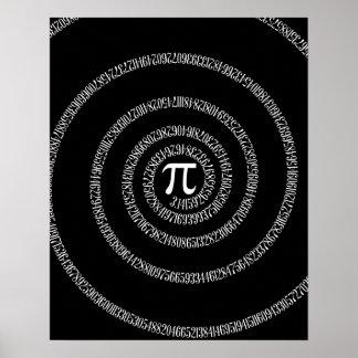 Espiral para el pi en negro sólido póster