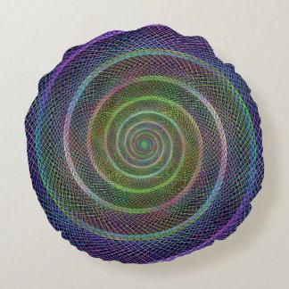 Espiral reticulado psicodélico cojín redondo