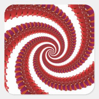 Espiral rojo de Octo Pegatina Cuadrada
