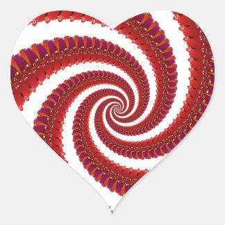 Espiral rojo de Octo Pegatina En Forma De Corazón
