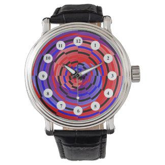 Espiral rojo y azul de Cntr (clásico) por Kenneth Reloj De Mano
