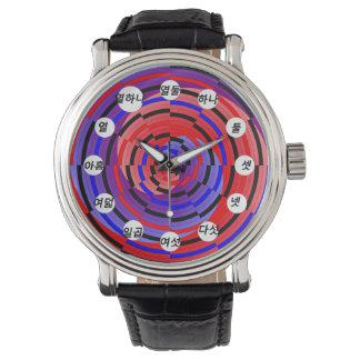Espiral rojo y azul de Cntr (coreano) por Kenneth Relojes De Mano