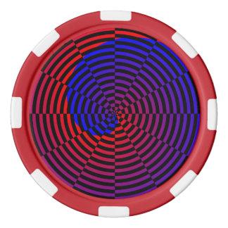Espiral rojo y azul de Kenneth Yoncich Juego De Fichas De Póquer