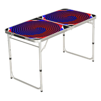 Espiral rojo y azul mesa de ping pong