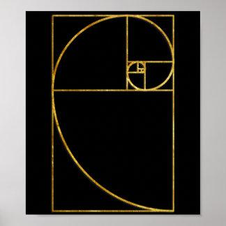 Espiral sagrado de Fibonacci del coeficiente de or Poster