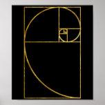 Espiral sagrado de Fibonacci del coeficiente de or Póster