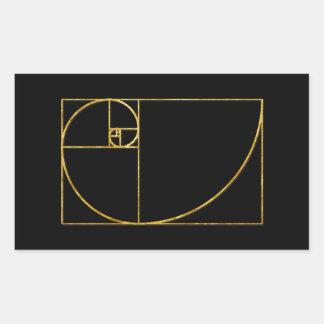 Espiral sagrado de Fibonacci del coeficiente de Pegatina Rectangular