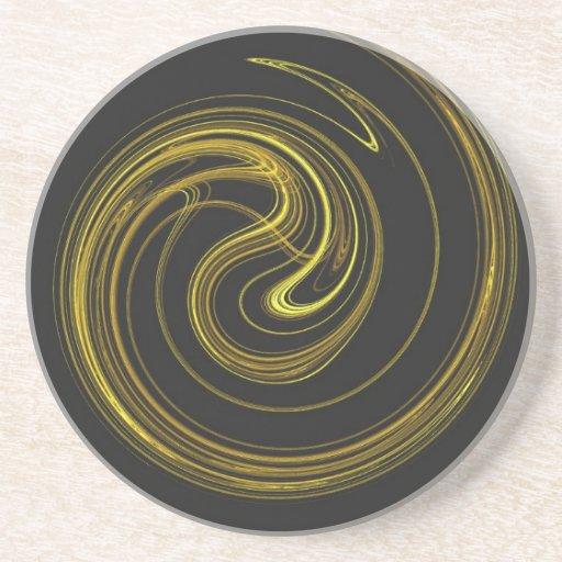 Espiral Series-1---Práctico de costa 1 del oro   d Posavasos Para Bebidas