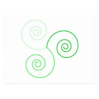 Espiral tricolor verde de la vida postal
