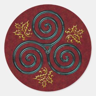 Espiral triple azul y acebo #3 - pegatina