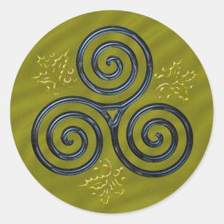 Espiral triple azul y acebo - pegatina