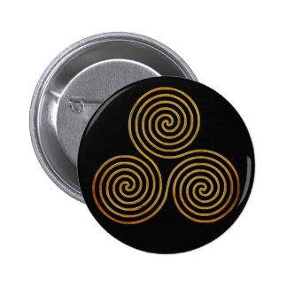 espiral triple céltico - oro antiguo de OneLine Pin Redondo 5 Cm