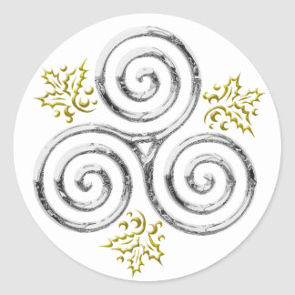 Espiral triple de plata y acebo #1 - pegatina