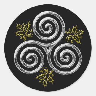 Espiral triple de plata y acebo #2 - pegatina