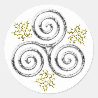 Espiral triple de plata y acebo - pegatina