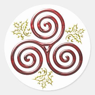 Espiral triple rojo y acebo #2 - pegatina