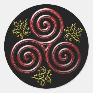 Espiral triple rojo y acebo #3 - pegatina