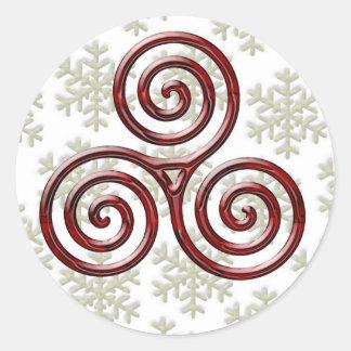 Espiral triple rojo y acebo #4 - pegatina