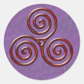 Espiral triple rojo y acebo - pegatina