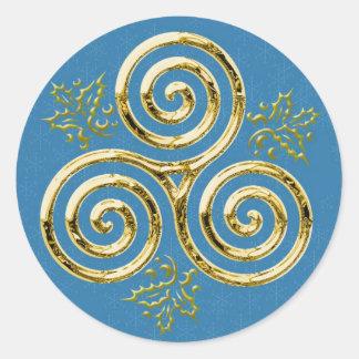 Espiral triple y acebo #2 - pegatina del oro