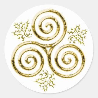 Espiral triple y acebo #3 - pegatina del oro