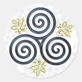 Espiral triple y acebo - pegatina