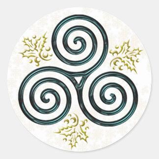 Espiral triple y acebo - pegatina de la turquesa