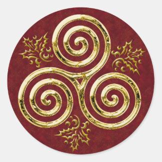 Espiral triple y acebo - pegatina del oro