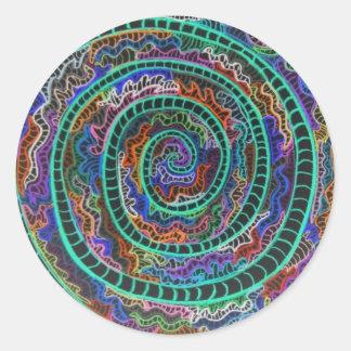 Espiral verde de neón pegatina redonda