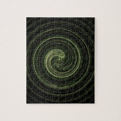 Espiral verde del fractal puzzles con fotos