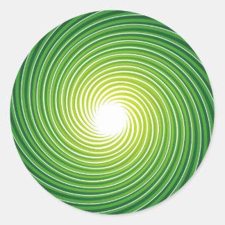 Espiral verde pegatina redonda