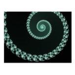 Espiral verde y gris del fractal postal