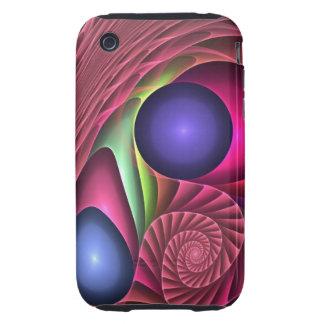 Espiral y burbujas abstractos frescos del caso del tough iPhone 3 protector