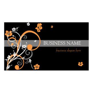 Espirales anaranjados blancos y flores tarjetas de visita