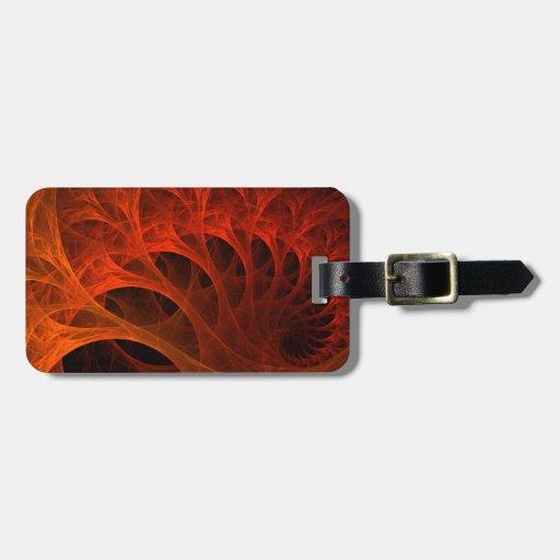 Espirales anaranjados de la mente etiqueta para maleta