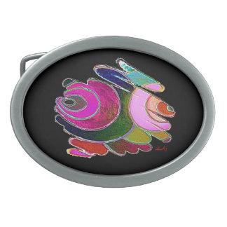 Espirales azules rosados de Frigga en la hebilla Hebilla De Cinturón Oval