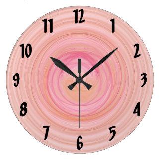 Espirales del rosa y del melocotón reloj redondo grande