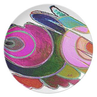 Espirales hermosos rosados de Frigg de la placa Plato De Cena